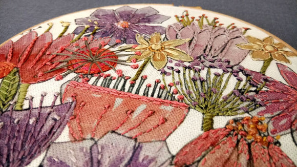 Annie Morris Embroidery Color Printed Linen Panel, BLOOMS