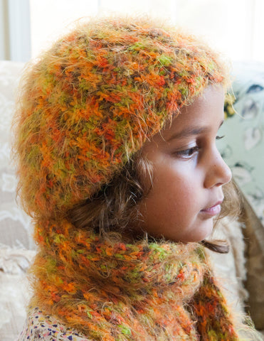 Hat, Handknit, Amelie, Orange/Green/Brown, size Small