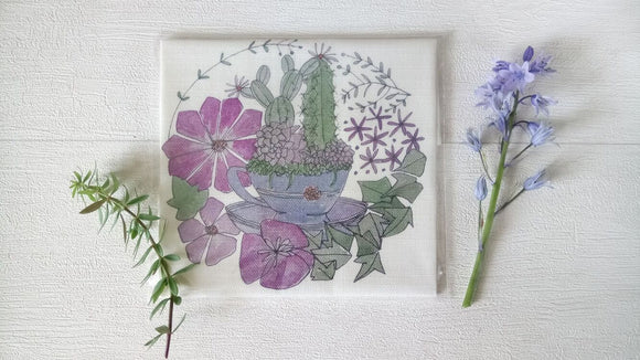 Annie Morris Embroidery Color Printed Linen Panel, TEACUP AND SUCCULENTS