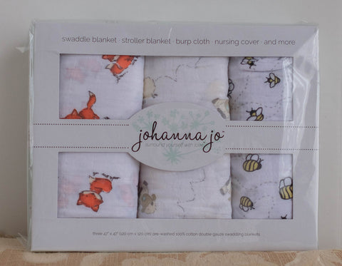 Shannon Fabrics Johanna Jo swaddle set of Three pre-made Double Gauze Swaddling Blankets