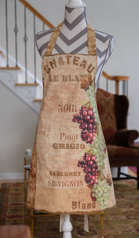 "Apron ""From the Chateau"",  from Wilmington Prints fabrics, lined, hand made"