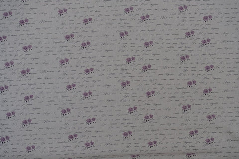 "Fabric from Stof fabrics, Lilac Rose Script, Denmark, linen/cotton, 60"" wide, Shabby Chic  Collection stf18-118"