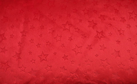 "Shannon Fabrics Cuddle Embossed Stars 58-60"" Wide, Red"