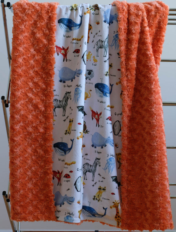 Minky Blanket Animal Alphabet, White/Multi/Orange