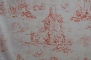 Fabric Toile Red from Village Garden Collection by Kaye England from Wilmington prints, 1803 98589