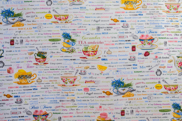 Fabric Tea Time by Mary Lake - Thompson from Kiss The Cook from Robert Kaufman, AMK-15286-1 WHITE