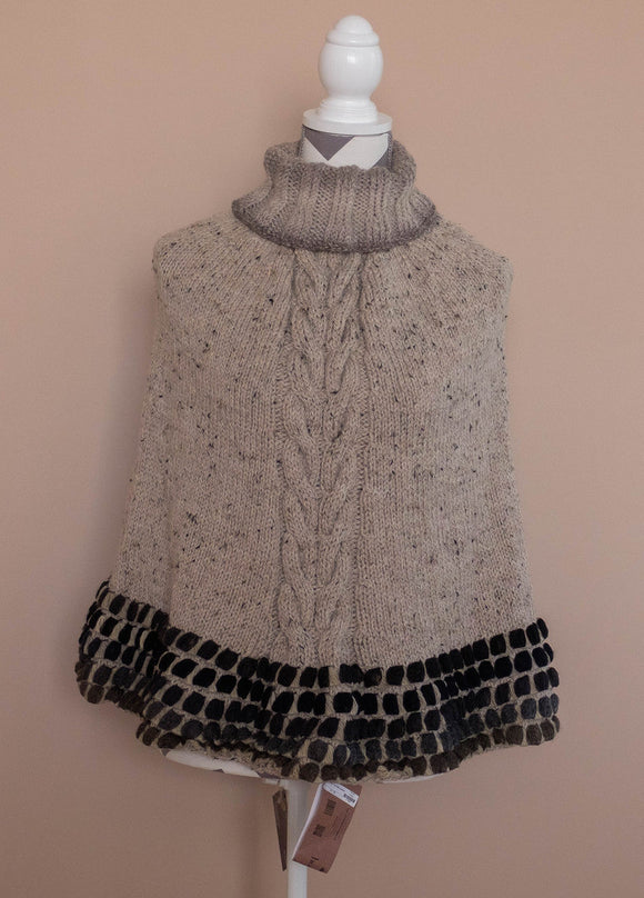 Poncho, Handknit, youth to adult, one size