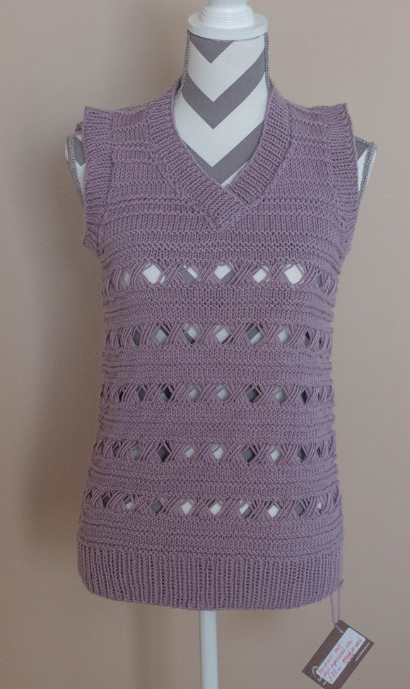 Vest, Handknit, youth and adult, medium to large size.