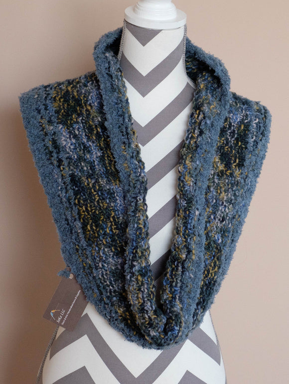 Cowl, Handknit, Malabrigo Merino Worsted Wool, Shades of Blue and Specks of Mustard,