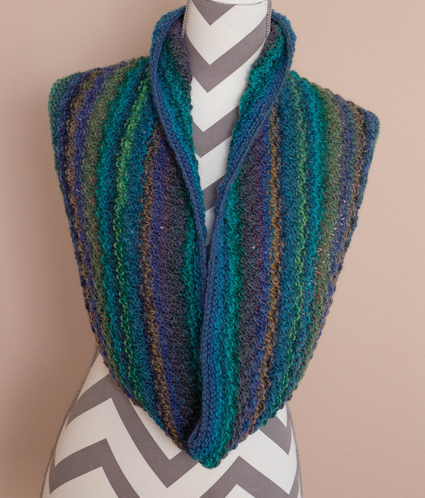 Cowl, Handknit, 100% Wool, Multi colored