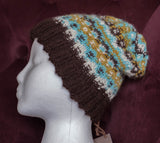 Hat, Handknit, Alpaca, Turquoise, Cream, Yellow-Green, and Brown.
