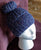 Hat, Handknit, with a Bun, Midnight Blue with Silver Sequin Yarn