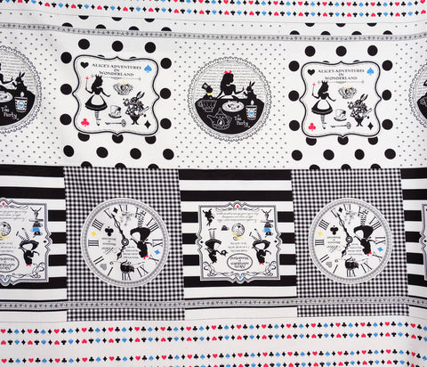 Quilting Fabric Lecien Alice in Wonderland Panel, Canvas