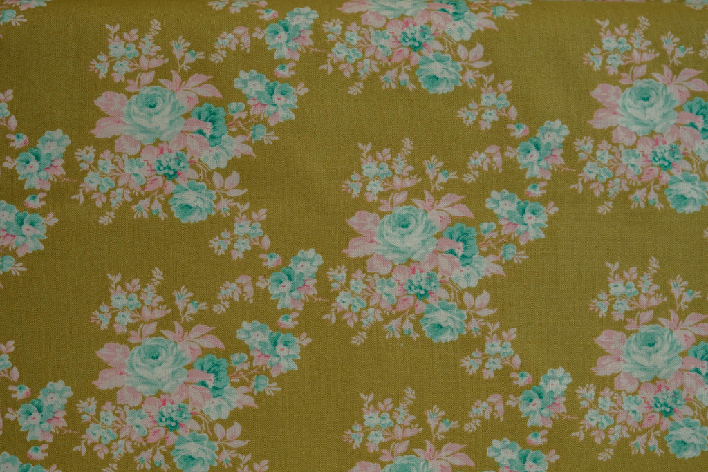 Fabric from Tilda, Harvest Collection, Autumn Rose Green 481502