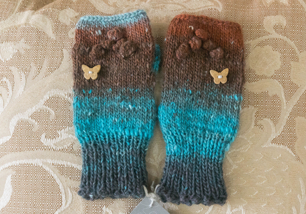 Handwarmers , Hand Knit From Noro Kirara Yarn
