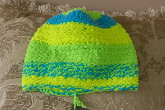Hat, Hand crocheted, soft plush, Neon Yellow, Green, and Blue