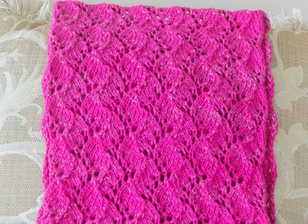 Scarf, Lace and Lurex, Hand Knit From Eclipse, Cotton/Lurex Yarn