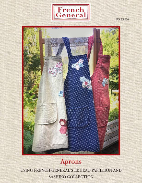 French General sewing pattern Crossback Aprons using Le Beau Papillion and Sashiko Collections FG BP 004