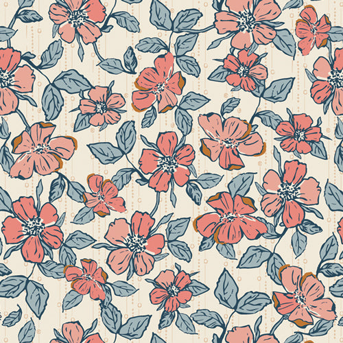 Fabric CRAFTED BLOOMS VANILLA from Art Gallery, Homebody Collection HMB-34957