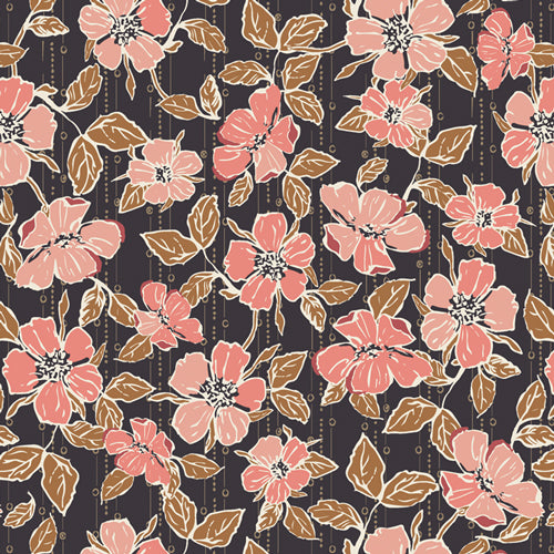Fabric CRAFTED BLOOMS CACAO from Art Gallery, Homebody Collection HMB-44957