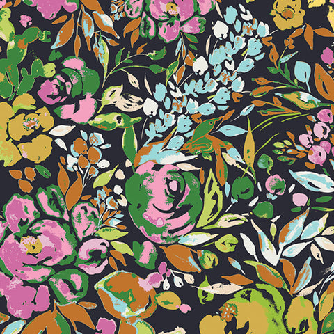 Fabric La Floraison Dim from Art Gallery Fabrics, Indigo and Aster Collection, IDA-24800