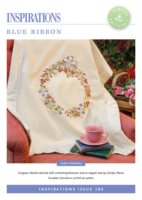 Pattern BLUE RIBBON Blanket by Carolyn Pearce for Inspiration Studios, i100 Print, Surface Embroidery