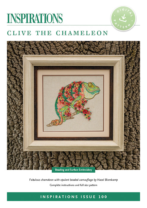 Pattern CLIVE THE CHAMELION by Hazel Bompkamp for Inspiration Studios, i100 Print, Beading with Surface Embroidery