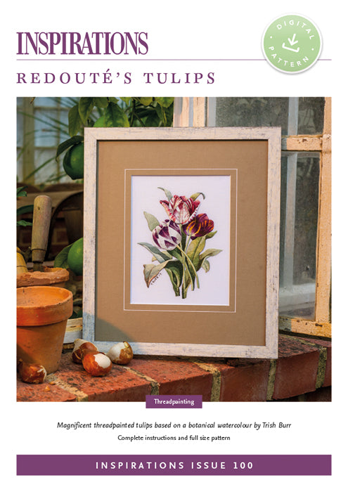 Pattern REDOUTE'S TULIPS by Trish Burr for Inspiration Studios, i100 Print, Threadpainting