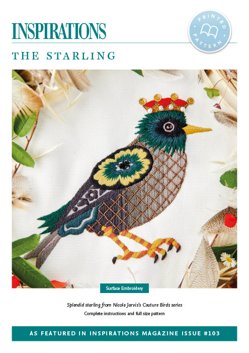 Pattern THE STARLING  by Nicola Jarvis from Couture Birds Series for Inspiration Studios, i103 Print,  Embroidery