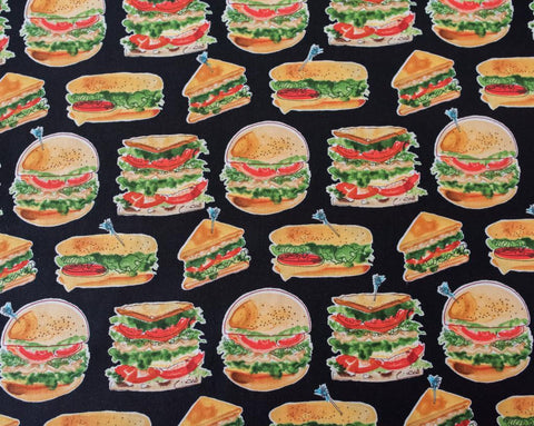 Quilting Fabric, Robert Kaufman Let's Do Lunch AMZ-15105-2 BLACK