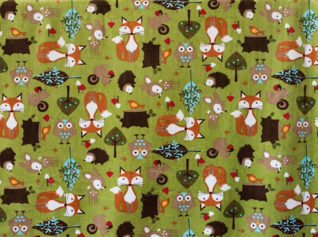 "Shannon Fabrics  Forest Tails Cuddle 58-60"" Wide, Kiwi"