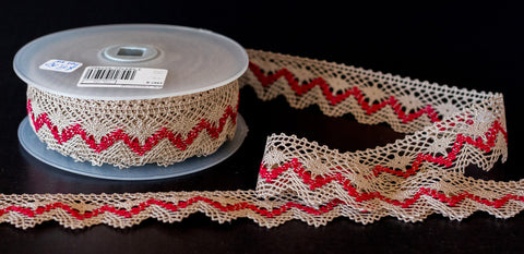 Woven Cotton Lace Natural/Red from La Stephanoise - Products from Abroad