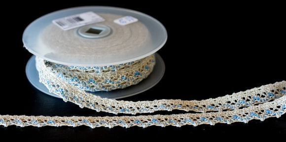Woven Cotton Lace Natural/Blue from La Stephanoise - Products from Abroad