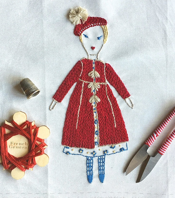 French General Embroidery Doll Sampler Kit Petite Lillie by Jess Brown
