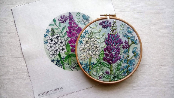 Annie Morris Embroidery Color Printed Linen Panel, LUPIN