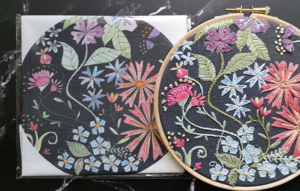 Annie Morris Embroidery Color Printed Linen Panel, MIDNIGHT BLOOMS