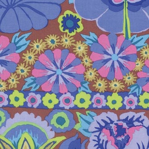 Fabric  Embroidered Flowers-Blue, PWKF001.BLUEX, Artisan Collection from Kaffee Fassett for Free Spirit.