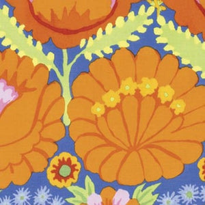 Fabric  Embroidered Flowers-Orange, PWKF001.ORANG , Artisan Collection from Kaffee Fassett for Free Spirit.