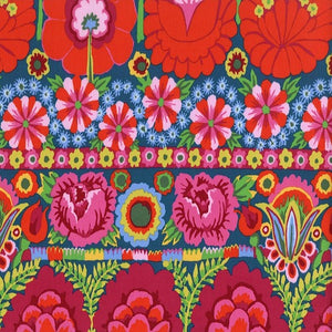 Fabric  Embroidered Flowers-Red,PWKF001.REDXX, Artisan Collection from Kaffee Fassett for Free Spirit.