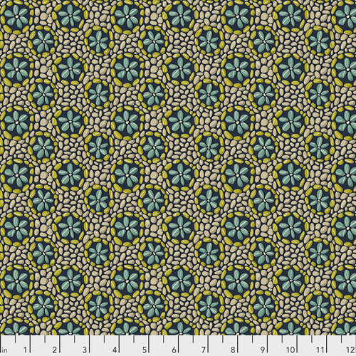 Fabric Stone Flowers - Navy by Odile Bailloeul  from the Land Art Collection for Free Spirit, PWOB024.NAVY