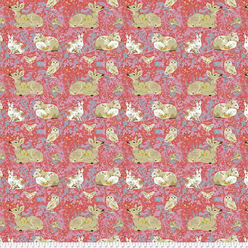 Fabric Mini Enchanted Forest, by Odile Bailloeul from Land Art Collection for Free Spirit, PWOB025.ROSE
