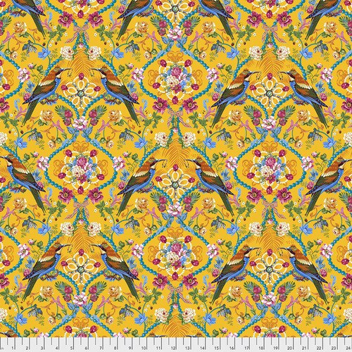 Fabric The Queen's Jewels, small, by Odile Bailloeul from Jardin de la Reine Collection for Free Spirit, PWOB035 GOLD
