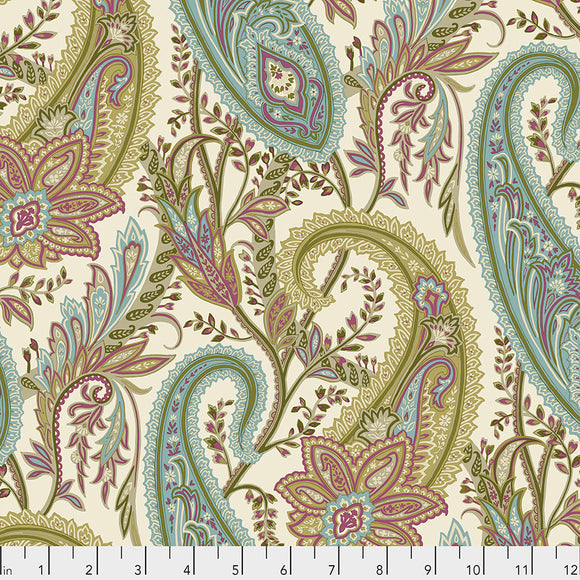 Fabric Cashmere Paisley, Garden, from Cashmere Collection, Sanderson, for Free Spirit, PWSA012.GARDEN