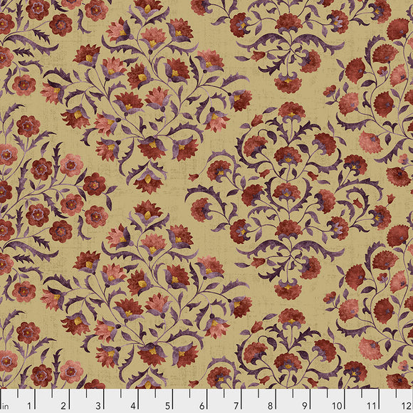 Fabric OTTOMAN FLOWERS, Spice, from Cashmere Collection, Sanderson, for Free Spirit, PWSA014.SPICE