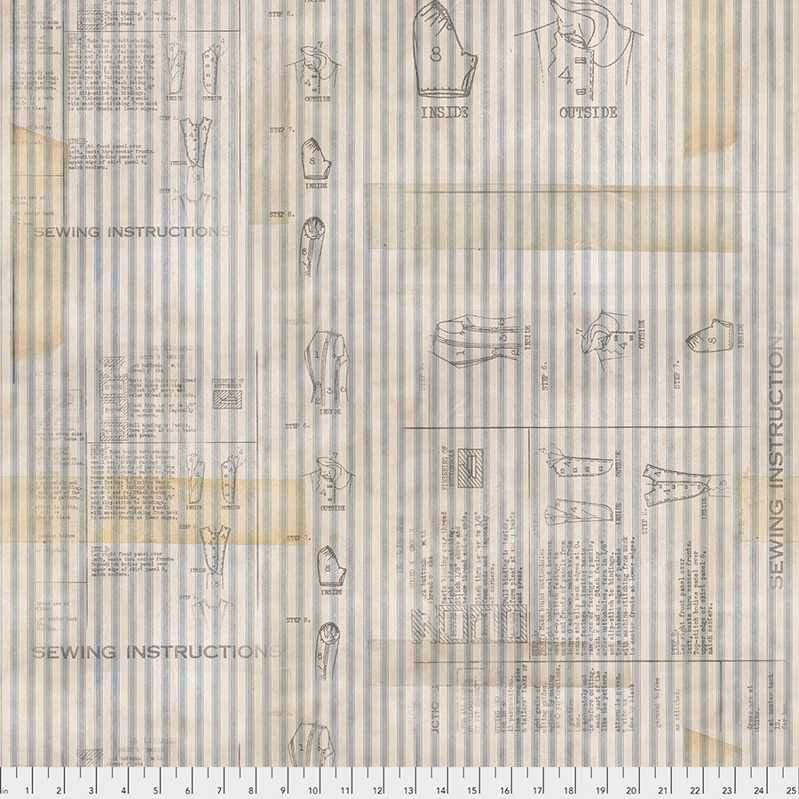 Fabric Sewing Instruction, PWTH 110 - neutral, Memoranda III Collection from Tim Holtz for Free Spirit.
