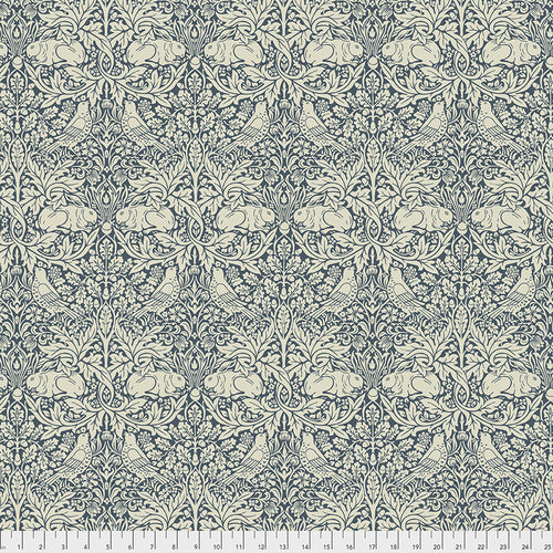 Fabric Brer Rabbit, from Standen Collection, Original Morris & Co for Free Spirit, PWWM026.NAVY