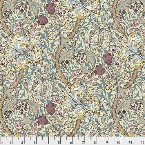 Fabric Golden Lily - Dusk, from Standen Collection, Original Morris & Co for Free Spirit, PWWM028.DUSK