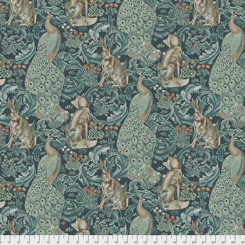 Fabric Forest - Teal, from Standen Collection, Original Morris & Co for Free Spirit, PWWM031.TEAL