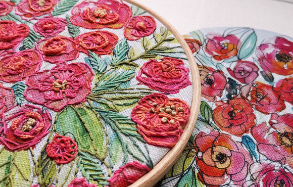 Annie Morris Embroidery Color Printed Linen Panel, ROSES