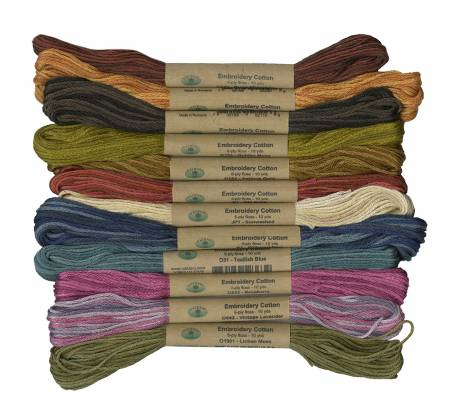 Valdani Embroidery Floss 6 Strand Sampler 12 Assorted Colors The Scent of Flowers # SF6STSMPLR